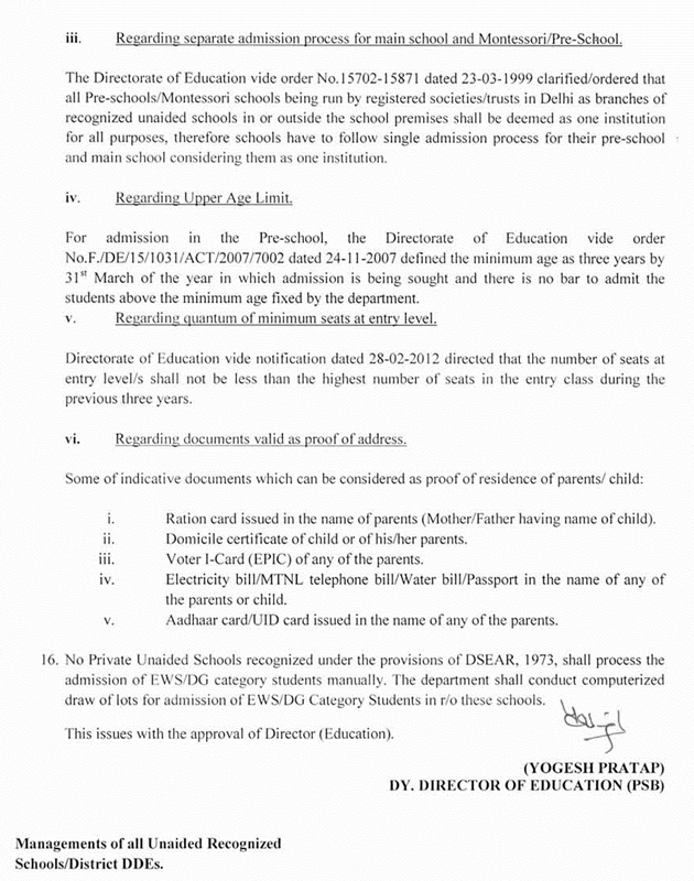Nursery Admission Shecdule & Guidelines from Directorate of