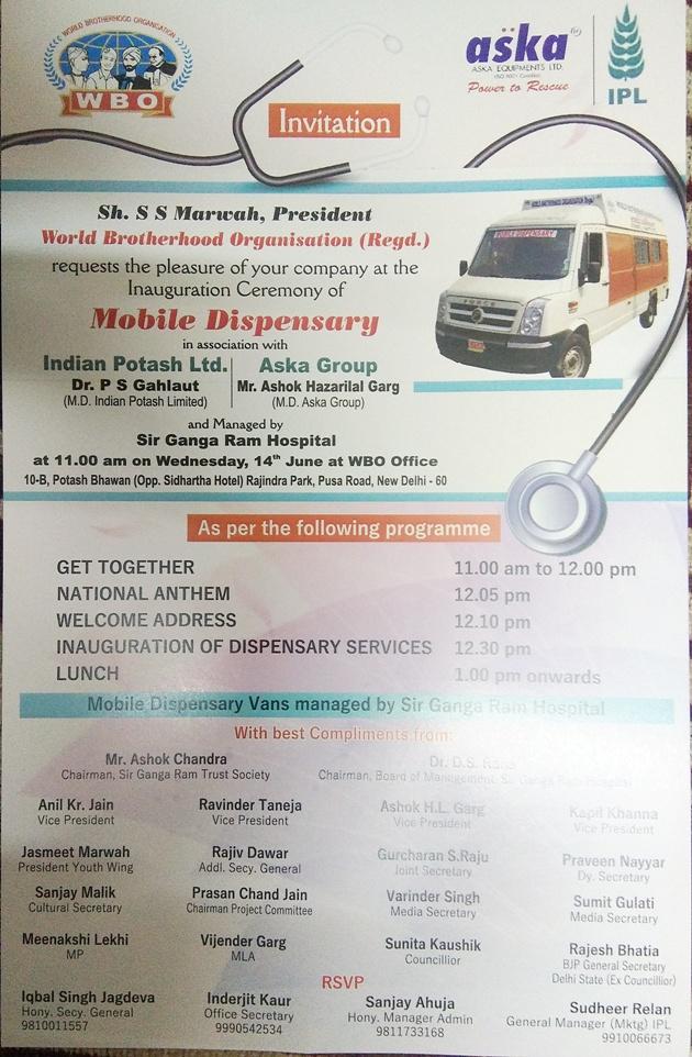 Launching Mobile Dispensary by WBO - Dwarka Parichay